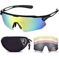 SNOWLEDGE Cycling Glasses Men Women, Polarized Sport Sunglasses with 5 Interchangeable Lenses and TR90 Superlight Frame…