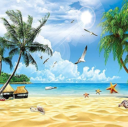 カスタム3D壁画壁紙用壁ホリデービーチ海景梅の木写真不織布壁カバー用リビングルームテレビソファ背景-200X140Cm
