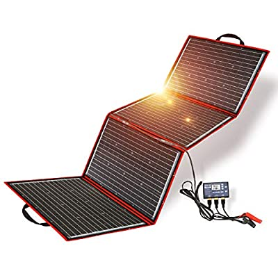 DOKIO 200W 12V Foldable Solar Panel Kit Monocrystalline with Solar Controller USB Output for Caravan RV Boat Camper Any Other Irregular Surface : Garden & Outdoor