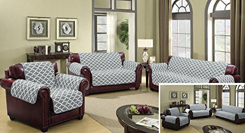 The Original Premium Reversible Couch Cover for Dogs, Kids, Pets - Sofa Slipcover Set Furniture Protector for 3 Cushion Couch, Recliner, Loveseat and Chair (Sofa, Grey)