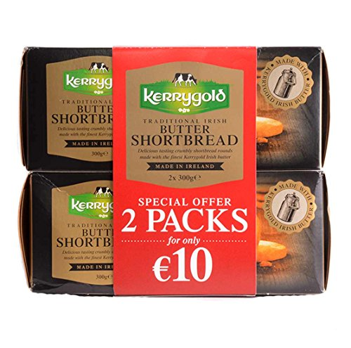 Traditional Irish Butter Kerrygold Shortbread Biscuits, 600g (300g x 2 Packs)...