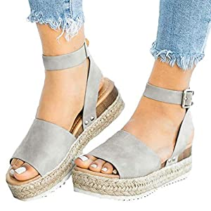 Athlefit Women's Platform Sandals Espadrille Wedge Ankle Strap Studded Open Toe Sandals