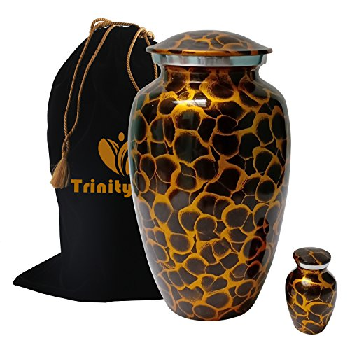 Tiger Eye Cremation Urn Set - 100% Handcrafted Adult Funeral Urn - Solid Metal Urn - Affordable Urn for Human Ashes with Free Keepsake & Velvet Bag (Gold)