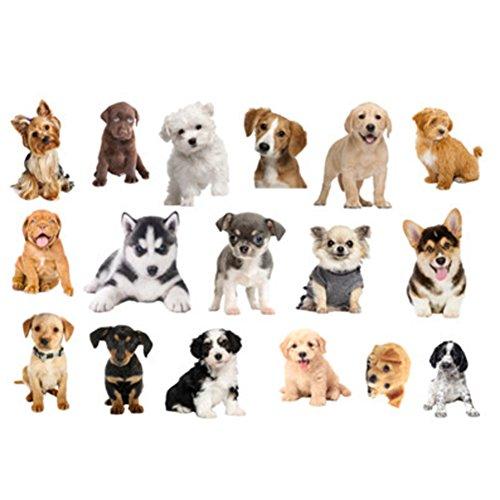 Fangeplus(R DIY Removable 3D Cute Dogs Husky Corgi Poodle Art Mural Vinyl Waterproof Wall Stickers Kids Room Decor Nursery Decal Sticker Wallpaper23.6x35.4