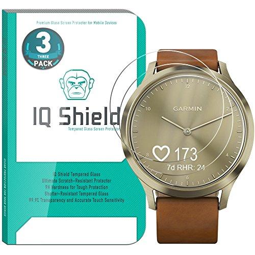 Garmin Vivomove HR Screen Protector (3-Pack), IQ Shield Tempered Ballistic Glass Screen Protector for Garmin Vivomove HR 99.9% Transparent HD and Shatter-Proof Shield