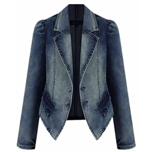 Cruiize Women's Slim Fit Lapel Long Sleeve Blazer Denim Jacket