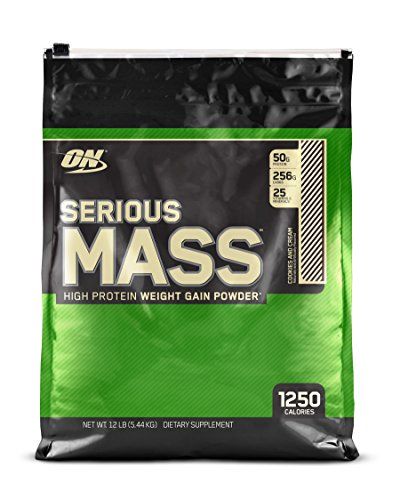 (OPTIMUM NUTRITION Serious Mass Gainer Protein Powder, Cookies & Cream, 12)