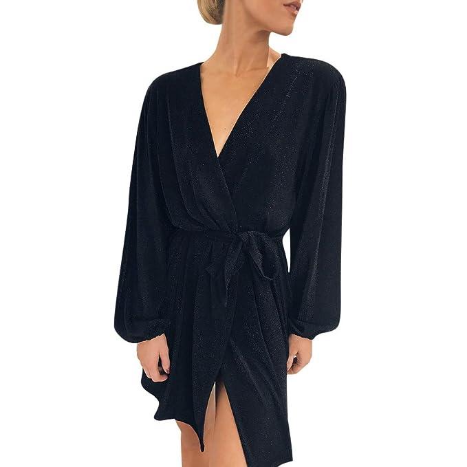 Women S Long Sleeve V Neck Sexy Mini Dress Party Casual