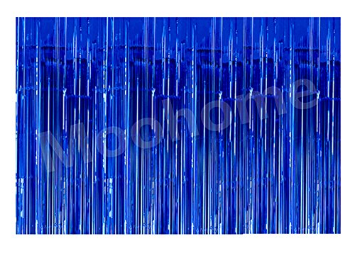 Blue Metallic Fringe (Moohome Big 12ft x 8ft Tinsel Metallic Blue Foil Fringe Curtains Backdrop Door Window Curtain Party Photography Decoration (12' x 8', Blue))
