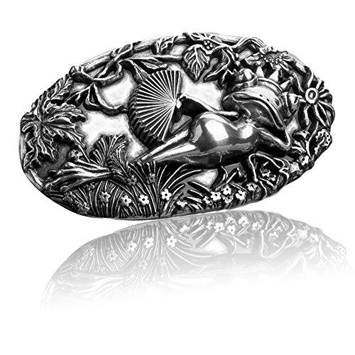 FREDERIC HERMANO Gürtelschnalle Buckle 40mm Metall Silber Geschwärzt - Buckle Frog - Dornschliesse Für Gürtel Mit 4cm Breite - Silberfarben Geschwärzt