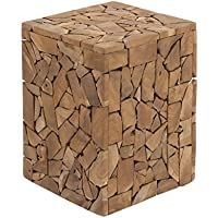 Deco 79 37804 Teak Wood Square Stool, 12 x 18