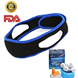 Anti Snoring Chin Strap with Snore Stopper Nose Vents and Ear Plugs for Sleeping - Snoring Solution Sleep Aid for Men Women - 4pcs Set
