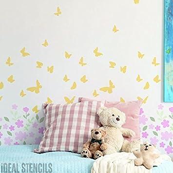 Decoración De Cuarto De Niños Plantilla En Flor & Con Mariposas Patrón Diseño Dormitorio De Niñas