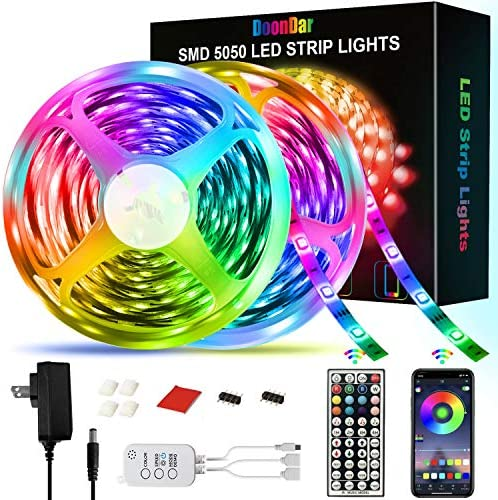 2x25FT DoonDar Color Changing Light Strip with 44Key Remote,Bluetooth APP Controller LED Lights,Music Sync,5050 SMD Music Sync LED Strip for Home TV Party 50FT//15M LED Strip Lights