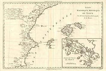 Iles Mayorque, Minorque et Yvice. Mahon. Majorca Menorca Ibiza. Bonne 1789 - Mapa Antiguo Vintage - Mapas Impresos de España: Amazon.es: Hogar