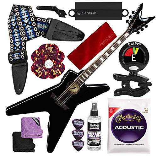 tic/Electric Guitar, Classic Black with Guitar Strap and Massaging Shoulder Strap Attachment Deluxe Accessory Bundle ()