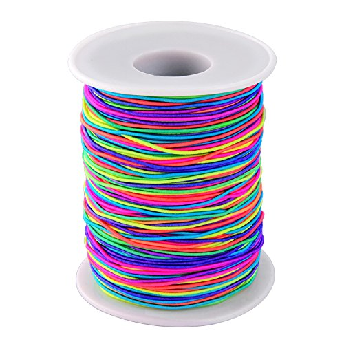 Outus 1 mm Elastic Cord Beading Threads Stretch String Fabric Crafting Cords for Jewelry Making (Rainbow, 100 -