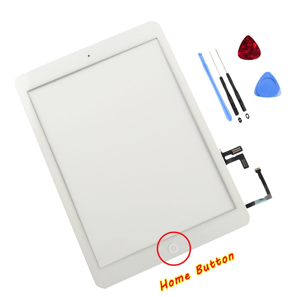ThePerfectPart OEM White Digitizer Touch Screen Outer Glass Panel for iPad Air 5 5th Gen Generation Bundle with Home Button Flex Cable Assembly, Tools and Adhesive Tape Air 1