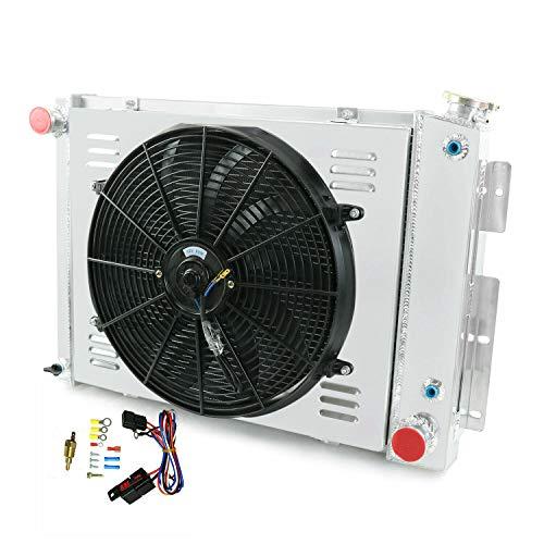 ALLOYWORKS 3 Rows Radiator +Shroud Fan +Thermostat for Chevy Camaro/Pontiac Firebird 67-69 ()