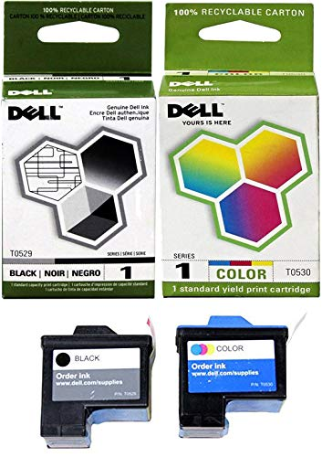 Genuine Dell Series 1 T0529 T0530 FN172 FN178 Ink cartridge 2 Pack in Bulk Packing for Dell 720 A920 Printers