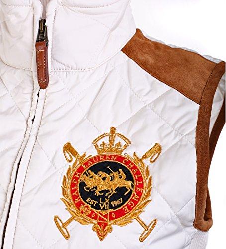 Ralph Lauren Sport Women Equestrian Crest Vest Suede Trim, Essex Cream, Small