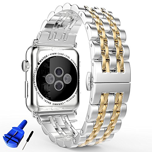 (HUANLONG Latest Solid Stainless Steel Metal Replacement 7 Pointers Watchband Bracelet with Double Button Folding Clasp for Apple Watch iWatch, Silver/Gold, 42 mm)