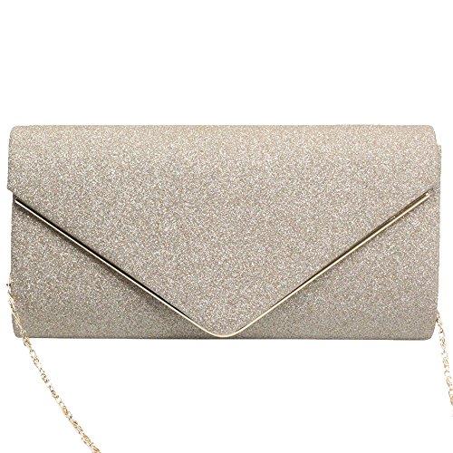 Suede Purse Evening Clutch Faux Gold Gold Envelope New Shoulder Womens Bag Cckuu Party wXW8qtfv77