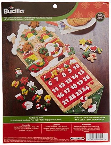 Bucilla Felt Applique Advent Calendar Kit, 11 by 26-Inch 86541 Santa's Toy Shop