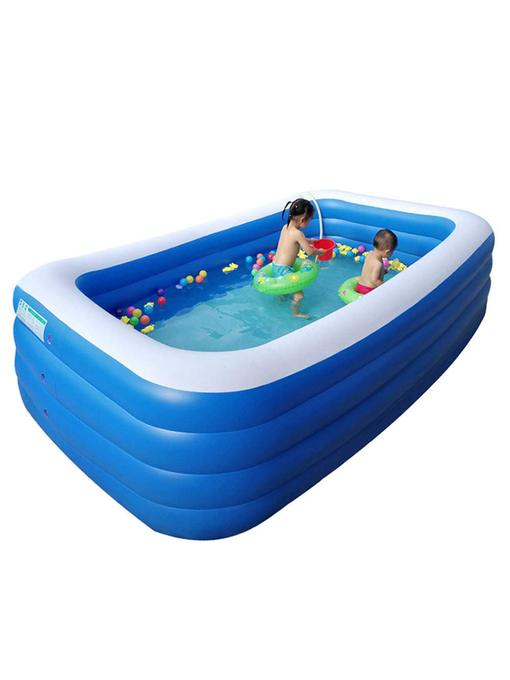 YUHAO(de) Riesiger Aufblasbarer Kinderpool - Familie Und Kinder Inflatierbarer Rechteckiger Pool(180x140x68cm)  150x105x50cm