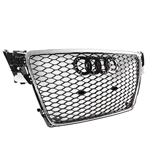 ZMAUTOPARTS 2009-2012 Audi A4 / S4 B8 8T RS5 Style Honeycomb Mesh Hex Grille Gloss Black with Chrome Trim