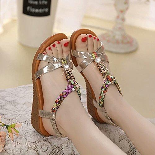 Moda Mujer verano sandalias confortables tacones altos,39 beige Gold