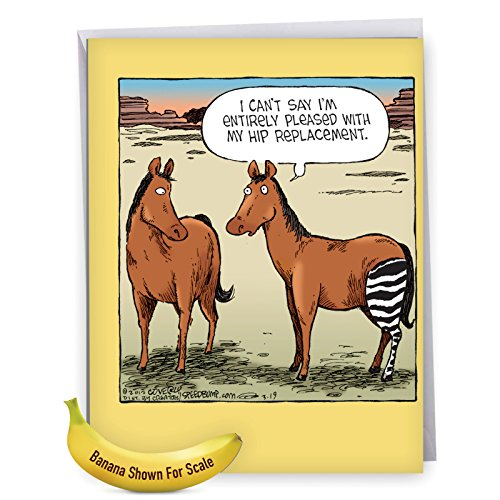 J1770GWG Jumbo Humor Get Well Greeting Card: Horse Hip Replacement: With Envelope (Extra-Large Size: 8.5