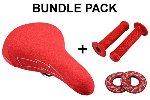 SE Bikes Flyer Seat Bundle 3 Items: SE Flyer Seat with SE Wing Grips with SE Wing Donuts (Red)
