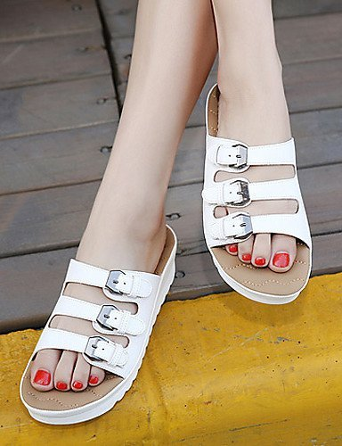 Open Shoes Sandals Wedge Black Heel Toe Leatherette Dress Women's Black ShangYi White wUqga6a