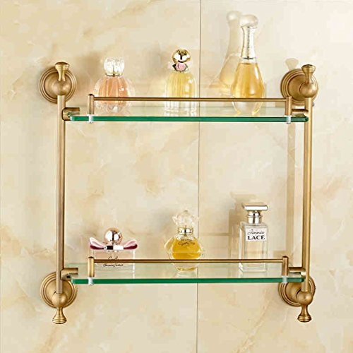 Modern Thick Glass Gallery Bathroom Shelf Wall 2 Full Copper Material 8mm Tempered Glass (Size : -