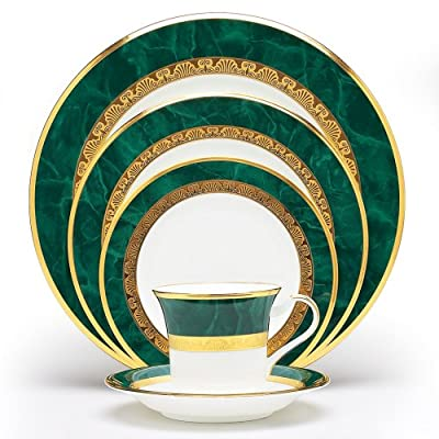 Noritake Fitzgerald 5-Piece Place Setting - Noritake Fitzgerald 5-Piece Place Setting White Bone China Wide rim of marbleized green with an outer band of smooth gold - kitchen-tabletop, kitchen-dining-room, dinnerware-sets - 51pnaIQ%2BHtL. SS400  -