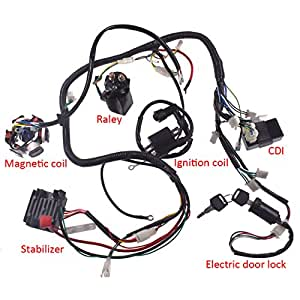 amazon jrl 150cc gy6 wiring harness wire loom stator cdi switch Rectifier for GY6 150Cc Wiring-Diagram wiring harnesses
