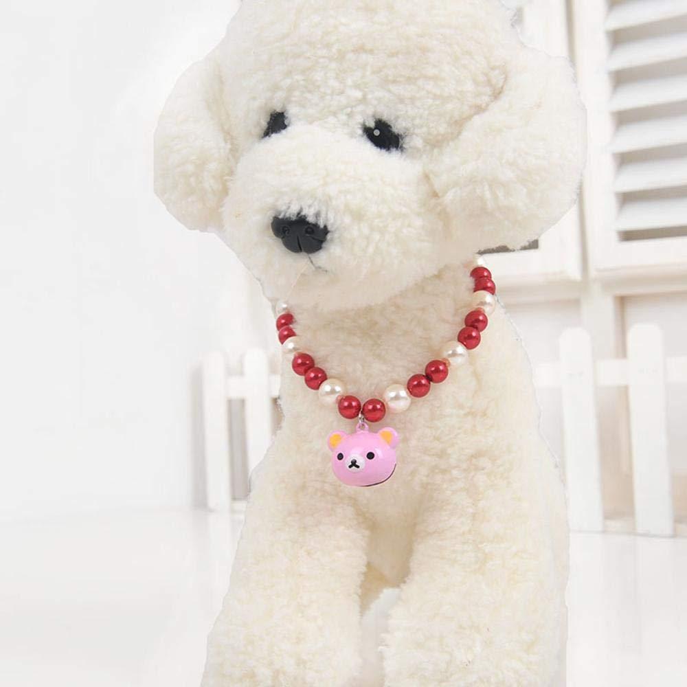 Dixinla Collare per cane Perline di acrilico arco con collana campana cane gatto, lunghezza 30cm
