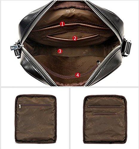 Shoulder Bag Sling Black Handbag Men's For Aiaimei Leather Messenger Men Crossbody qTxE1E7Xw