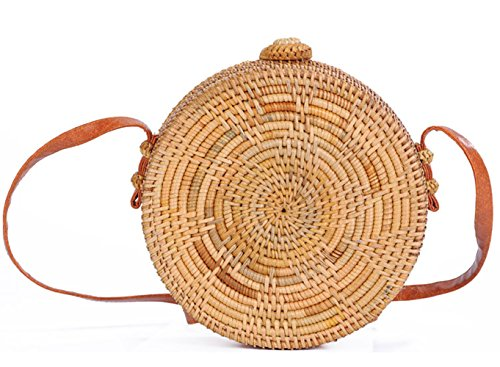 LaviniaLee Round Handwoven Rattan Bag Leather Strap Crossbody Shoulder Beach Bag by LaviniaLee
