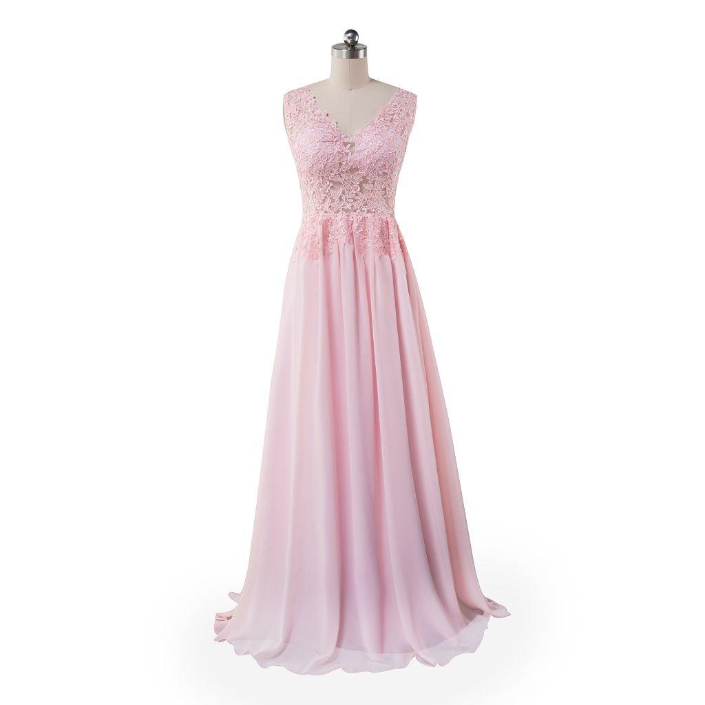 Beauty-Emily Prom Dresses Womens Sleeveless Long Pink Lace Dresses Chiffon Bridesmaid Dresses Plus Size Pink, Size US 12: Amazon.co.uk: Clothing