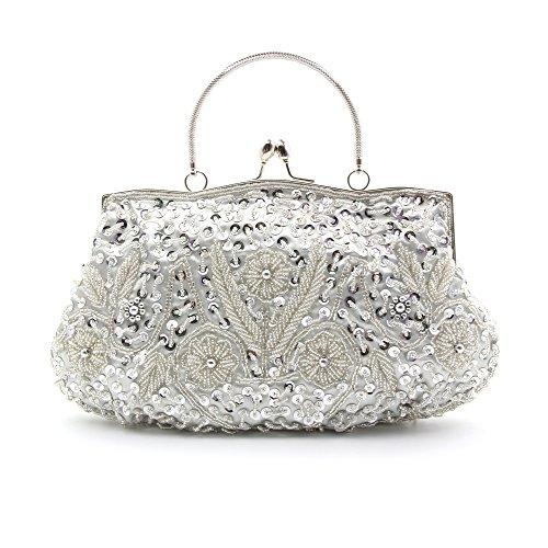 ¡OFERTA! LadyGirl Vogue - Bolso de mano, de moda, de mujer, para fiesta, ideal para regalo - Distintos colores, precio/unidad plata