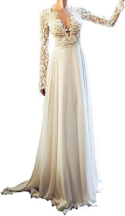 Topashe Women S Boho Beach Lace Long Sleeve Backless Chiffon Western Wedding Dress For Bridal 2018 At Amazon Women S Clothing Store