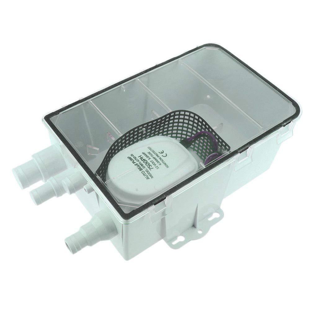 USLICCX Marine Boat Shower Sump Pump Drain Kit System Multi-Port Inlet Shower System 12V 750GPH by USLICCX
