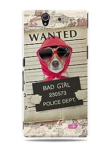 GRÜV Premium Case - 'Bad Girl Dog Wanted Police Mug Shot Poster' Design - Best Quality Designer Print on White Hard Cover - for Sony Ericsson Xperia Z L36h