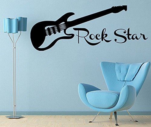Empresal Guitar Rock Star Decal Wall Vinyl Decor Sticker Bedroom Music Kids Children Art