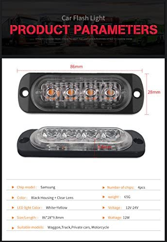 FEZZ Car LED Flash Lights Bar Strobe Lightbar Emergency Flashing Warning 4 LED Amber White Vehicle Truck Trailer Caravan