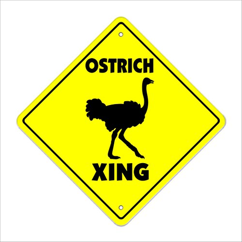 "Ostrich Crossing Sign Zone Xing | Indoor/Outdoor | 12"" Tall emu australia supplies feed cage"