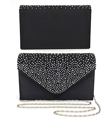 Bag Bags Clutch Shoulder Party Essvita Wedding Black Bag Diamonds For Frosty Black Evening On Women Bridal wOBwqA