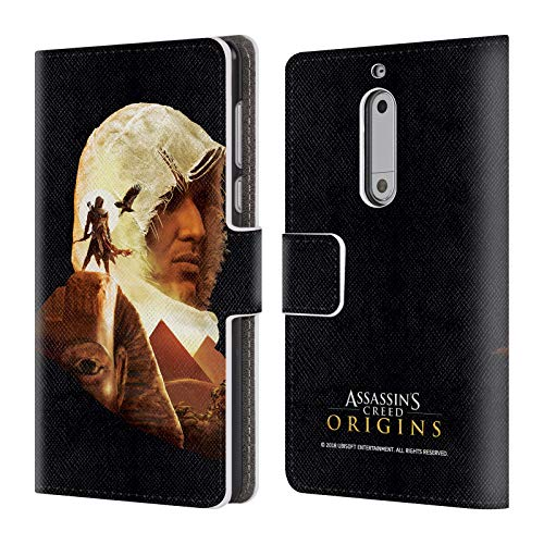 Official Assassin's Creed Bayek Sphinx Origins Character Art Leather Book Wallet Case Cover for Nokia 5